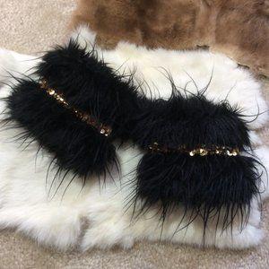 Faux Fur Gold Sequin Wristbands
